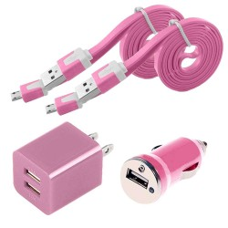 4 in 1 pack of Data Cable Charger and Adapter for Galaxy S©5 Pink