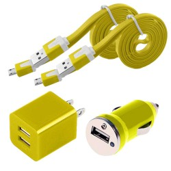 4 in 1 pack of Data Cable Charger and Adapter for Galaxy S©5 Yellow