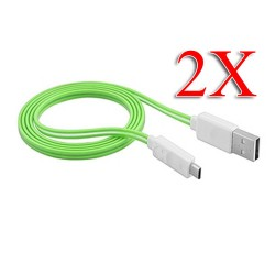 2 X Visible LED Light Micro USB Charger Cable for Samsung Galaxy S©4 Green