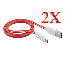 2 X Visible LED Light Micro USB Charger Cable for Samsung Galaxy S©4 Red