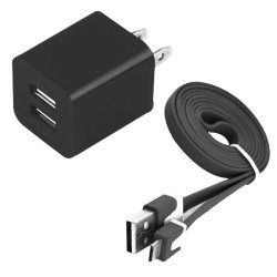 Pack of 2 Micro Usb Cable Wall Charger for Samsung Galaxy S©5 Black