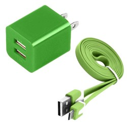 Pack of 2 Micro Usb Cable Wall Charger for Samsung Galaxy S©5 Green