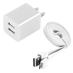 Pack of 2 Micro Usb Cable Wall Charger for Samsung Galaxy S©5 White