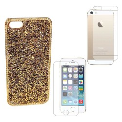 Luxury Bling Diamonds Crystals Case Screen Protector For iPhone® 5 5S Gold
