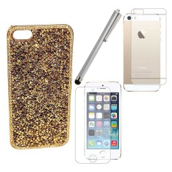 Luxury Bling Diamonds Crystals Case Screen Protector Stylus For iPhone® 5 5S Gold