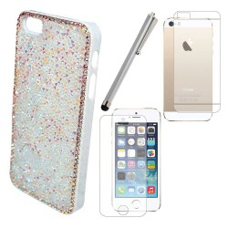 Luxury Bling Diamonds Crystals Case Screen Protector Stylus For iPhone® 5 5S White
