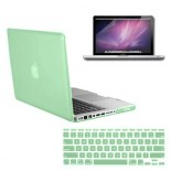for macbook pro® 13 inch rubberized case cover - ocean green with screen protector