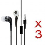 pack of 3 black in ear earphone w/ mic for apple® SAMSUNG© smartphones