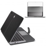 for macbook pro® 13 leather case cover - black with screen protector