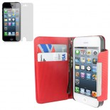 red pu leather case cover for apple® iphone® 5 with screen protector