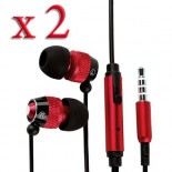 pack of 2 red black in ear earphone w/ mic for SAMSUNG© apple® smartphones