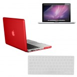 for macbook pro® 13 crystal hard case cover - red with screen protector