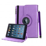 purple pu leather case cover for apple® ipadmini with stylus