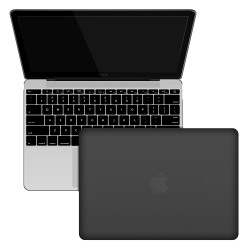 "Rubberized Hard Shell Case With Keyboard Cover for MacBook 12"" Retina A1534 - Black"