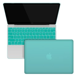 "Rubberized Hard Shell Case With Keyboard Cover for MacBook 12"" Retina A1534 - Turquoise Blue"