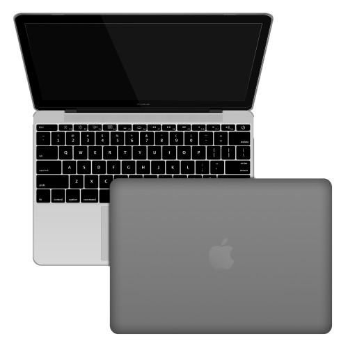 "Rubberized Hard Shell Case With Keyboard Cover for MacBook 12"" Retina A1534 - Grey"