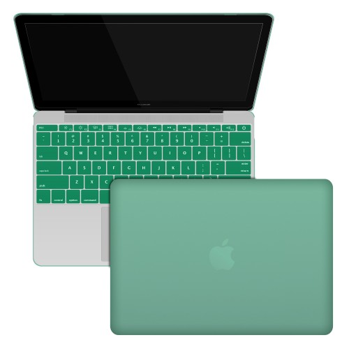 "Rubberized Hard Shell Case With Keyboard Cover for MacBook 12"" Retina A1534 - Ocean Green"