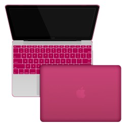 "Rubberized Hard Shell Case With Keyboard Cover for MacBook 12"" Retina A1534 - Hot Pink"