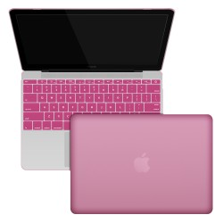 "Rubberized Hard Shell Case With Keyboard Cover for MacBook 12"" Retina A1534 - Baby Pink"