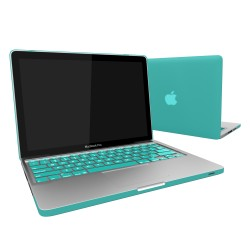 "Rubberized Hard Shell Case With Keyboard Cover for Macbook Pro 13""  A1278 - Turquoise Blue"