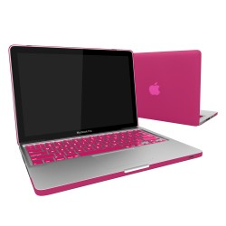 "Rubberized Hard Shell Case With Keyboard Cover for Macbook Pro 13""  A1278 - Hot Pink"