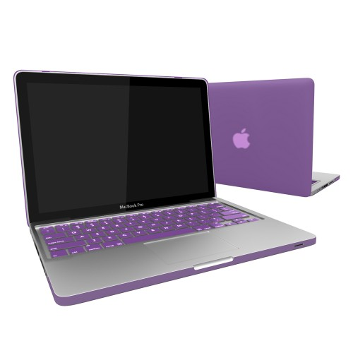 "Rubberized Hard Shell Case With Keyboard Cover for Macbook Pro 13""  A1278 - Purple"
