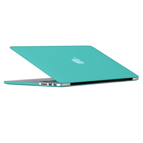 "Rubberized Hard Shell Case With Keyboard Cover for Macbook Pro 15"" Retina A1398 - Turquoise Blue"