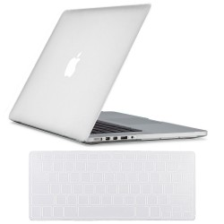 "Rubberized Hard Shell Case With Keyboard Cover for Macbook Pro 15"" Retina A1398 - Clear"