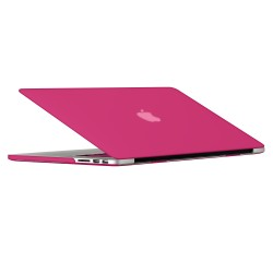 "Rubberized Hard Shell Case With Keyboard Cover for Macbook Pro 15"" Retina A1398 - Hot Pink"