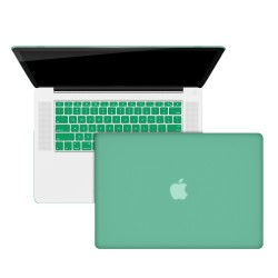 "Rubberized Hard Shell Case With Keyboard Cover for Macbook Pro 15"" A1286 - Ocean Green"