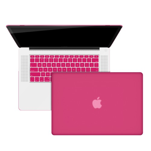 "Rubberized Hard Shell Case With Keyboard Cover for Macbook Pro 15"" A1286 - Hot Pink"