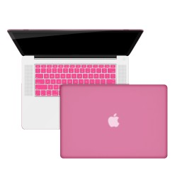 "Rubberized Hard Shell Case With Keyboard Cover for Macbook Pro 15"" A1286 - Baby Pink"