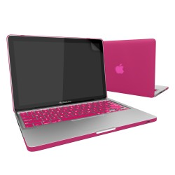 Rubberized Hard Case for Macbook Pro® 13 with Screen Protector Hot Pink