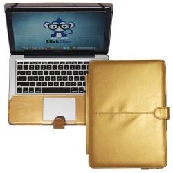 "Premium PU Leather Clip On Folio Case for MacBook Pro 13"" (A1278) - Champagne Gold"