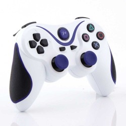 White Blue Wireless Bluetooth Controller For Sony PS 3