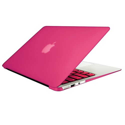 """Rubberized Hard Shell Case With Keyboard Cover for Macbook Air 11"""" A1370/A1465 - Hot pink"""