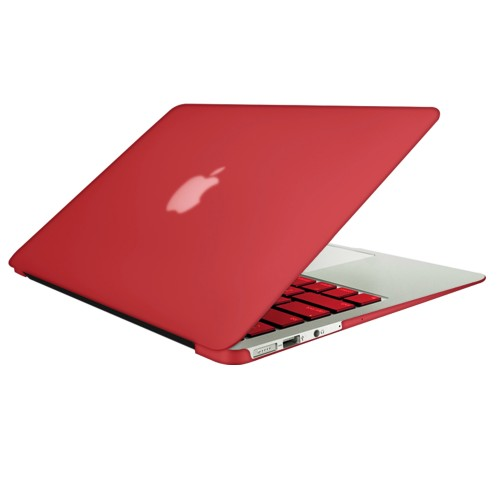 "Rubberized Hard Shell Case With Keyboard Cover for Macbook Air 13"" A1466/A1369 - Red"